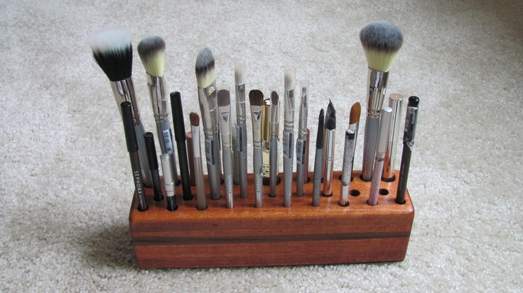 Handmade Peg Baskets : Handmade wooden makeup tool organizer via etsy