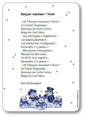 Parole de la poésie Bonjour monsieur l'hiver de Patrick Bousquet : Bonjour monsieur l'Hiver, - Hé ! Bonjour monsieur l'Hiver ! Ç a faisait longtemps...