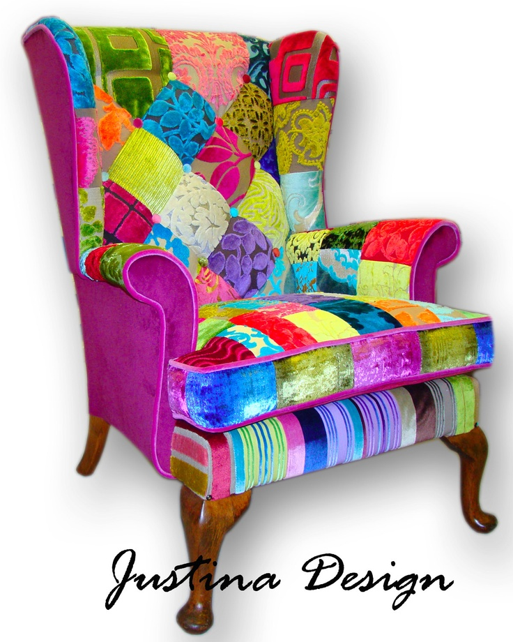 patchwork wing back armchair in designers guild velvets and plain sides via