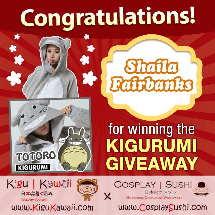 Our lucky Kigurumi giveaway winner is here! Congratulations Shaila Fairbanks for winning a Totoro Kigurumi onesie!
