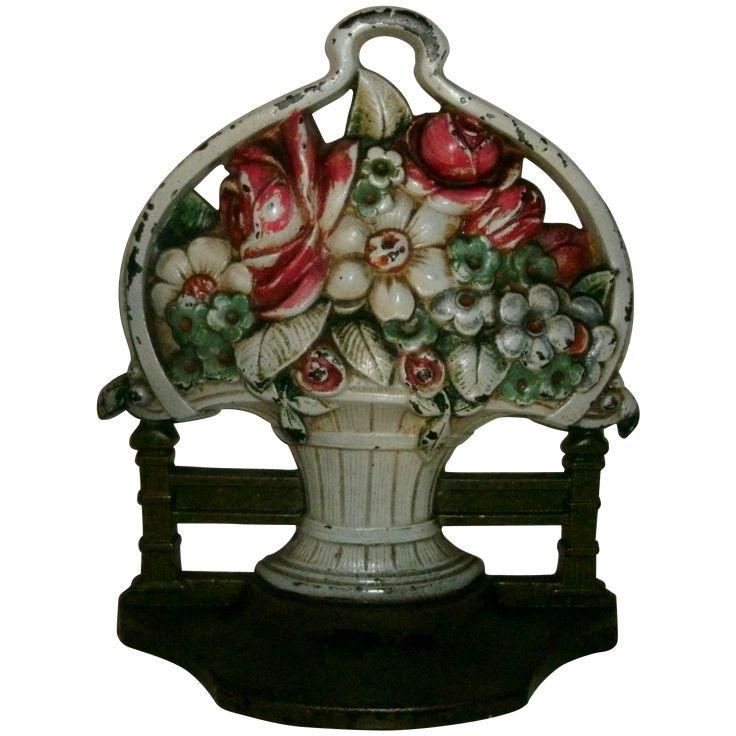 Antique Cast Iron Handled Flower Basket W/ Fence Doorstop - #9812 -  Original Painted Surface - 181 Best Door Knockers/Vintage & Antique Images On Pinterest