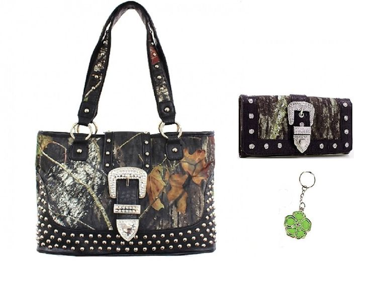 Mossy Oak Camo Western Rhinestone Purse Trifold Wallet Set Pink Brown -- Click on the image for additional details.