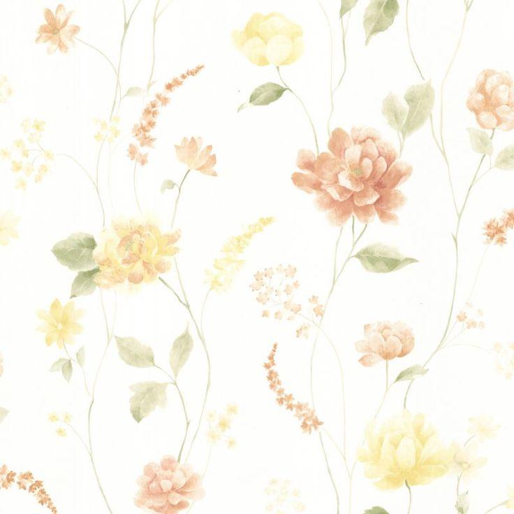 Brewster 347-20104 Hanne Yellow Floral Pattern Wallpaper Yellow Home Decor Wallpaper Wallpaper
