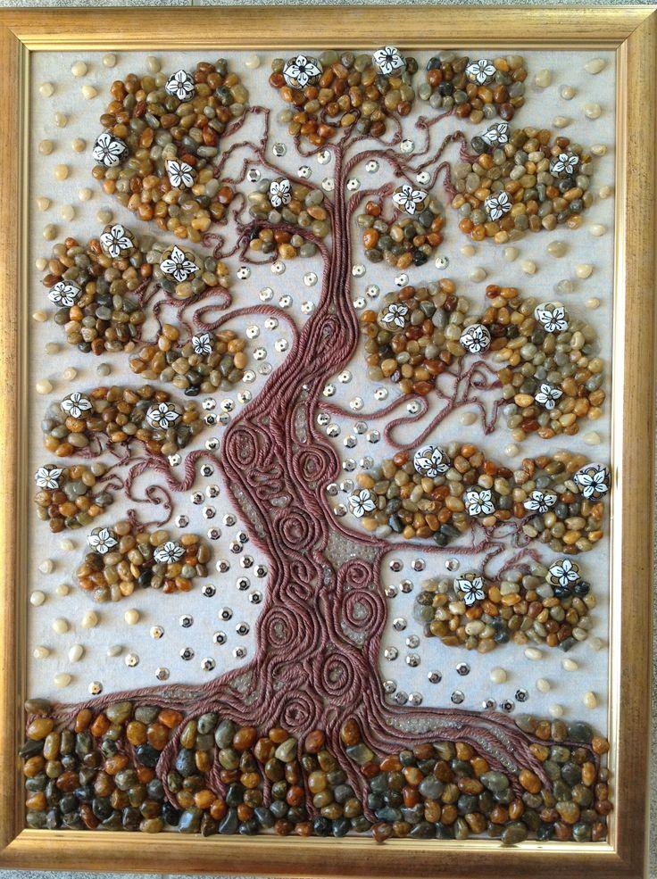 Öreg fa 30/40 kavics-textil kép