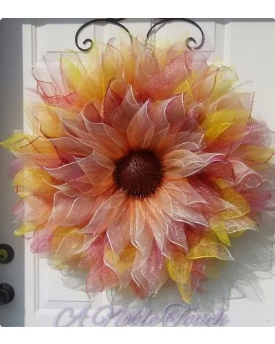 Deco mesh flower wreath by A Noble Touch.
