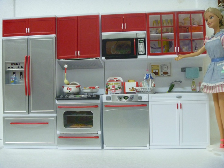 Beautiful Miniature Modern Comfort Kitchen Set Rementlike Doll With  Dollhouse Furniture Kitchen