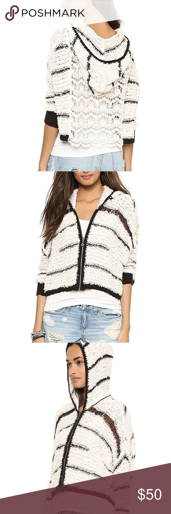 Free People Cecilia Hoodie Awesome zip up Cecilia hoodie by Free People. Ivory Combo colorway. Crochet back detail. Minor fuzzies as pictured, but overall in great condition. Make an offer or 'add to bundle' and I will send you a private discount! ❤️ Free People Tops Sweatshirts & Hoodies