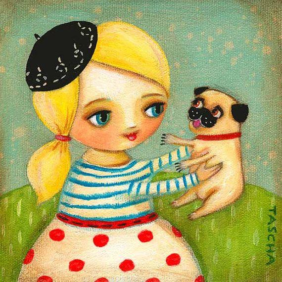 FRENCH girl and PUG dog in Paris PRINT of original by tascha, $15.00  Sam & Ponyo