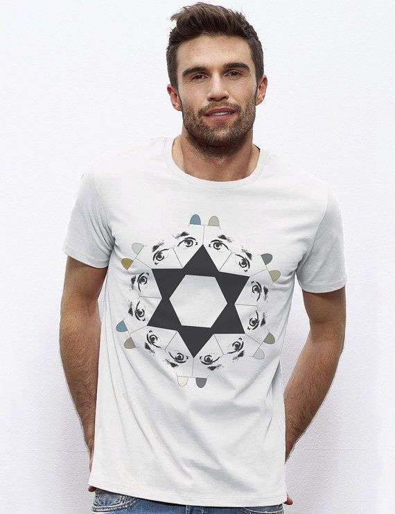 Men's Organic cotton t-shirt Geometric dogs in a by RooftopCo