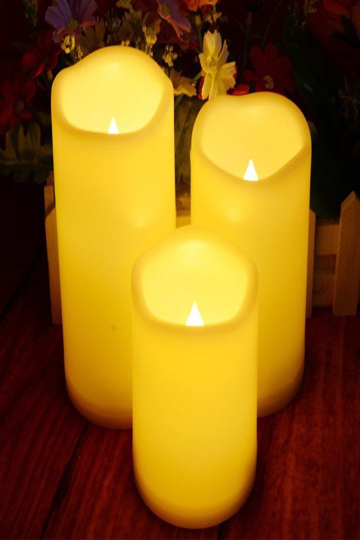 Flameless Led Candles Set Of 3 Real Wax Flickering Pillar Electric Candles Timer Led Candle Set Timer Candles Electric Candles
