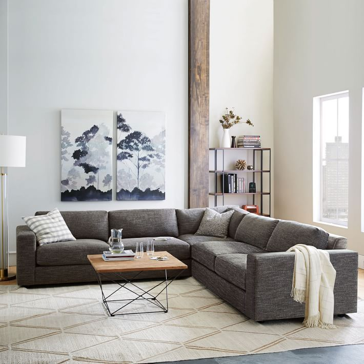 urban lshaped sectional heathered tweed family rooms small living