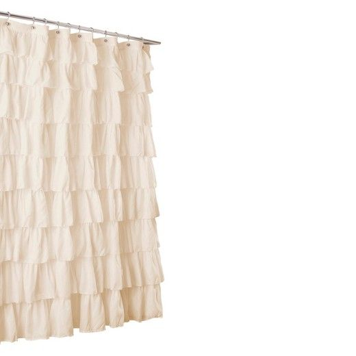 The Lush Décor Large Ruffle Shower Curtain brings luxurious style to your bathroom. Made of polyester, this fabric shower curtain has tiers of gathered ruffles that create fullness and give off a feminine vibe. Choose from a variety of lovely colors, including a multicolored ombre version of this stylish ruffled shower curtain.