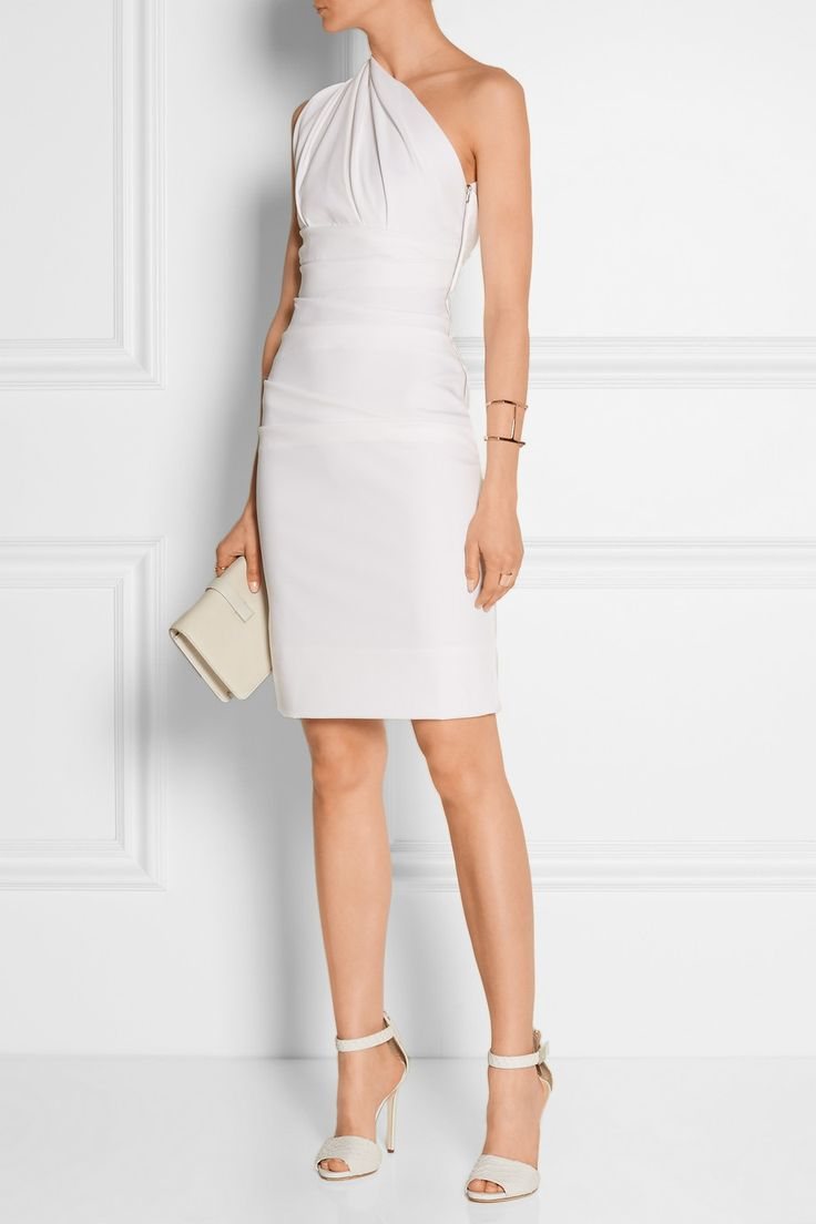 Preen by Thornton Bregazzi | Tamara one-shoulder ruched stretch-cady dress | EDITORS' NOTES & DETAILS Preen by Thornton Bregazzi's 'Tamara' dress is universally flattering. This elegantly draped and ruched piece is crafted from white strech-cady with a one-shoulder design that shows off just enough skin. Wear yours with tonal sandals and rose-gold jewelry.