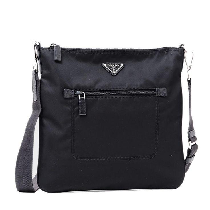 Prada Tessuto Nylon Messenger/Crossbody 1BH715 Black Messenger Bag