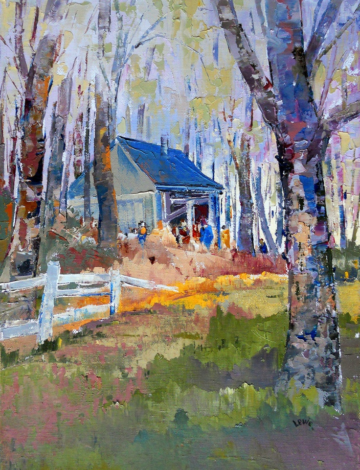 Cabin in the forest original canadian oil painting by for Home decor quebec