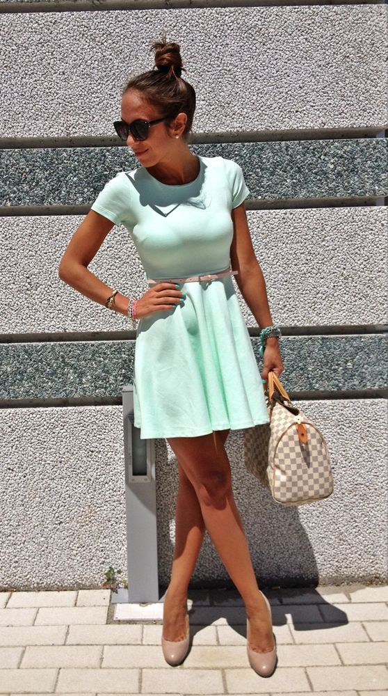 mint and nude + louis vuitton purse LOVE THE DRESS