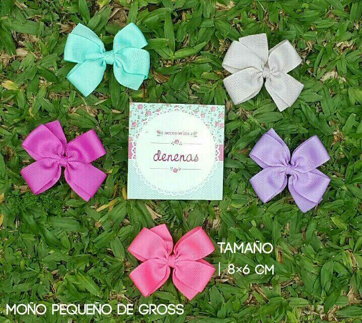 Moño pequeño gross. tiffany - beige oscuro - lila iris - coral - rosa oscuro - Moños para niñas - Bows for girls #accesorios para nenas @denenasaccesorios