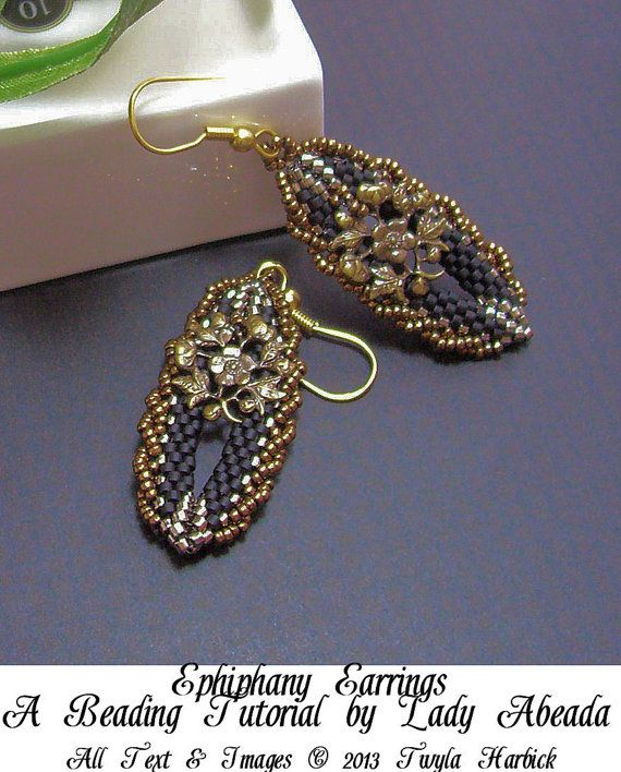 Easy Seed Beading Patterns | Beading tutorial and pattern for Ephiphany seed bead earrings INSTANT ...