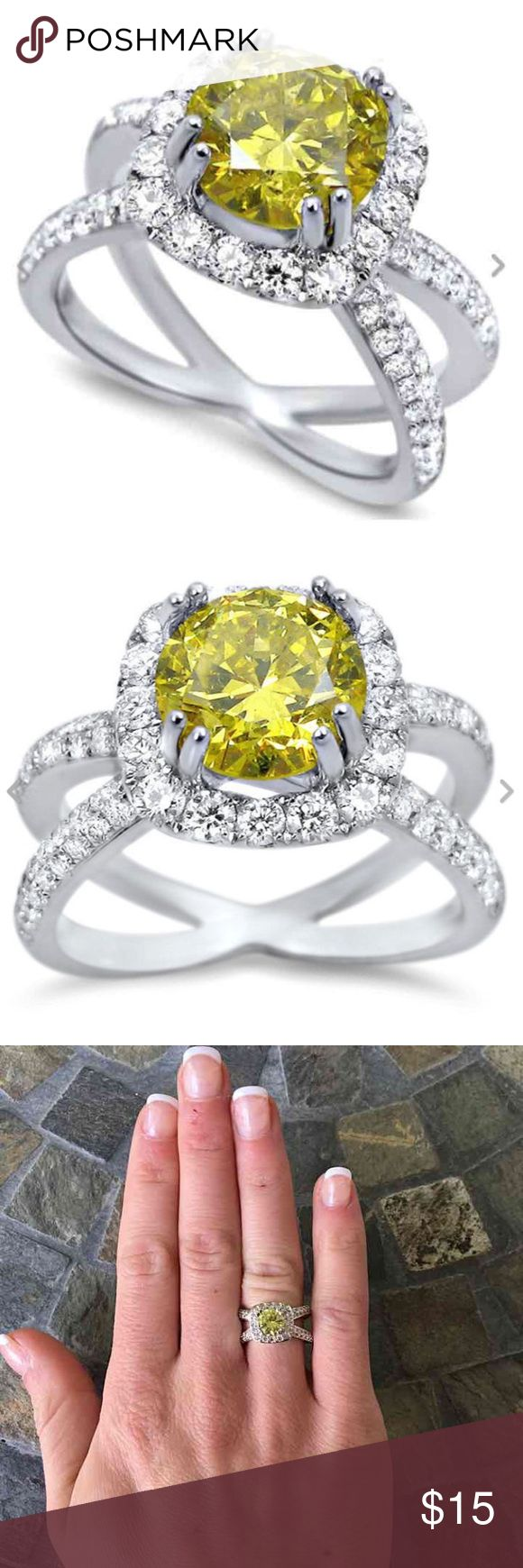 Round Yellow Citrine Halo Silver Engagement Ring Very pretty and a cool designed band! Round yellow citrine gemstone  Halo setting Split/crossover band (looks so cute on finger!) White stones in all four shanks of the band Silver plated  FIRM PRICE/NO TRADES❗ Jewelry Rings