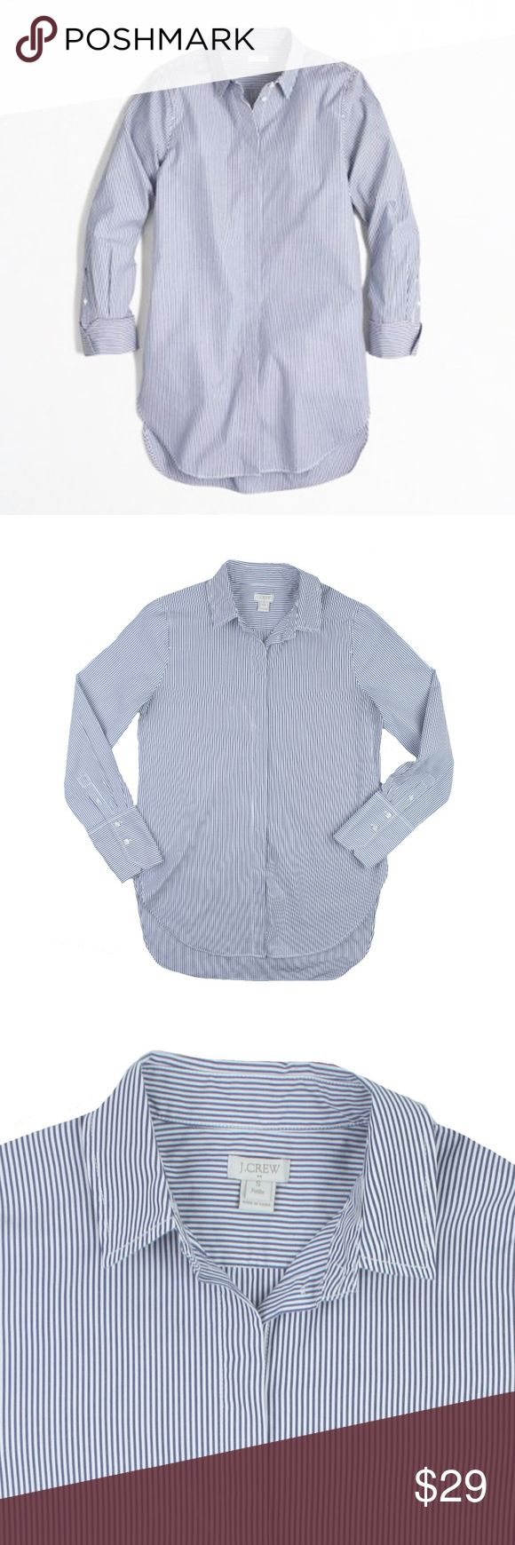 """JCREW Blue Stripe Infinity Shirt Button Down Size - Petite S  This blue and white stripe infinity button down shirt from JCREW  is in excellent condition. It features a longer length, hi-low hemline and button closures. 100% Cotton.  Measures: Bust: 36"""" Total Length: 27"""" in front, 30"""" in back Sleeves: 23"""" J. Crew Tops Button Down Shirts"""