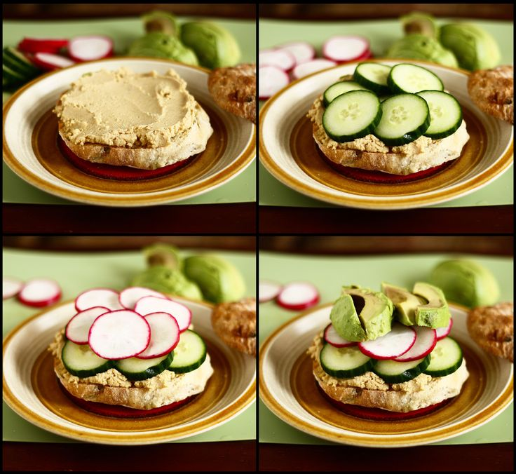 Hummus-Veggie Sandwich - cucumber, radish, hummus and avocado