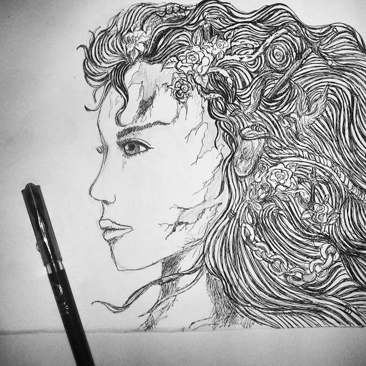 ink drawing black pen woman hair