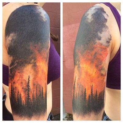 Forest Fire Tattoo Sleeve
