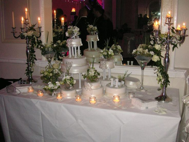 Cake table decoration in white