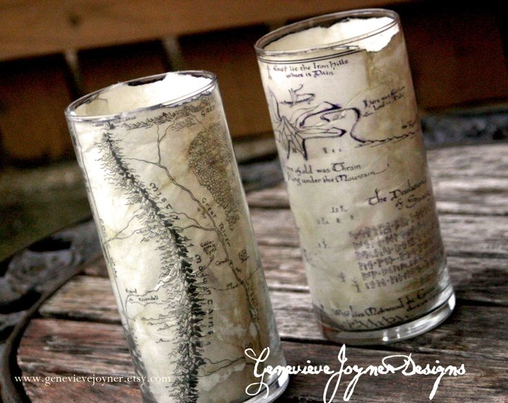 The Hobbit candle hoder -- Hobbit wedding -- hobbit reception--Lord of the the Rings wedding reception---The hobbit movie -- Thorin's map. $12.50, via Etsy.