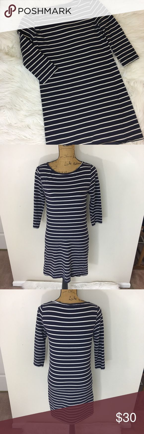 ✨TOPSHOP MATERNITY STRIPED DRESS✨ Topshop navy blue and white MATERNITY dress. Size 8. 3/4 length sleeves. 95% cotton 5% spandex. Excellent condition Topshop MATERNITY Dresses