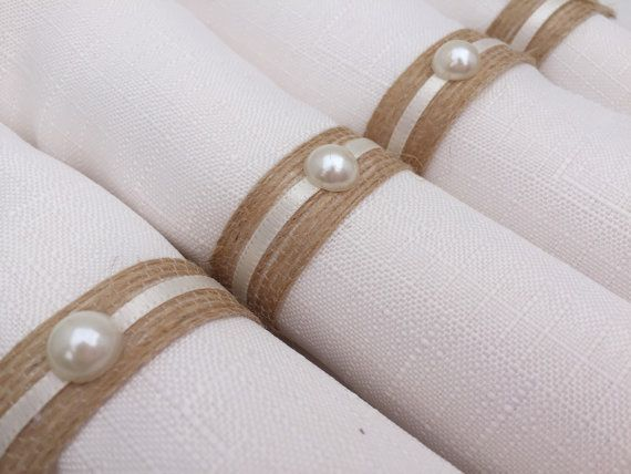 Wedding Napkin Rings Table Decor Pearl Bridal Shower Natural Jute Holder