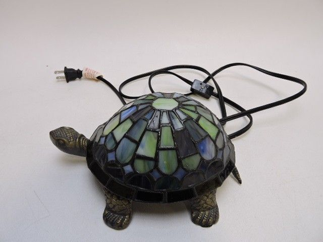 Small Turtle Shaped Lamp W/ Stained Glass Shell - shopgoodwill.com