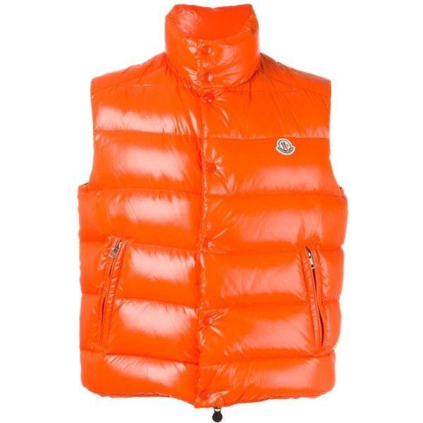 Moncler 'Tib' padded gilet (2.450 RON) ❤ liked on Polyvore featuring men's fashion, men's clothing, men's outerwear, men's vests, orange, mens sleeveless vest, mens orange vest, mens padded vest and mens quilted vest