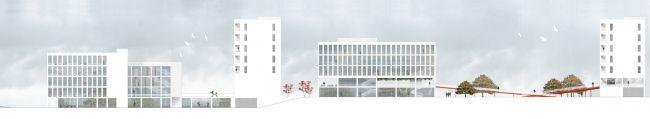 Проект «Дом средней этажности» в стиле Л. Mис ван дер Роэ. Город Москва. Автор: Наталья Логинова, студент 5 группы 3 курса. Фасад