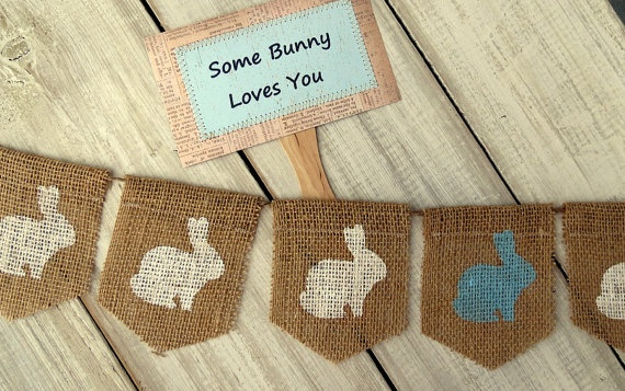 """Easter Photography Prop Set Burlap Banner with Bunnies and Paddle Sign """"Some Bunny Loves You"""". $28.00, via Etsy."""