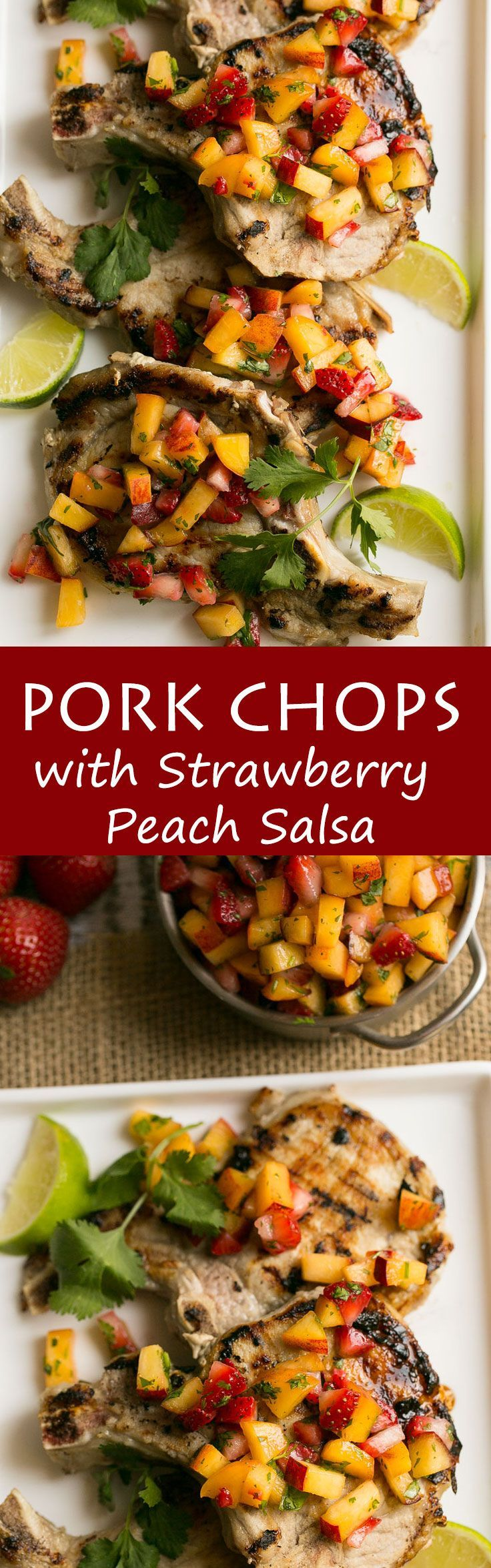 Grilled pork chops with strawberry peach salsa look fancy but are super easy to make- Love, Pasta and a Tool Belt | recipes | grilling | dinner | dinner ideas | pork chops |