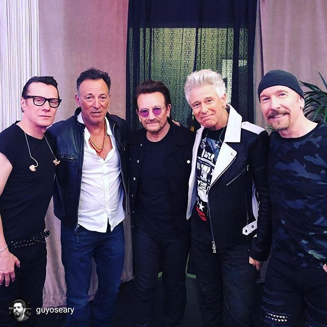 Repost From Guyoseary When The Boss Shows Up To Your Work Springsteen U2 Msg July 1 U2s 30th Show A Couples Music Bruce Springsteen Larry Mullen Jr