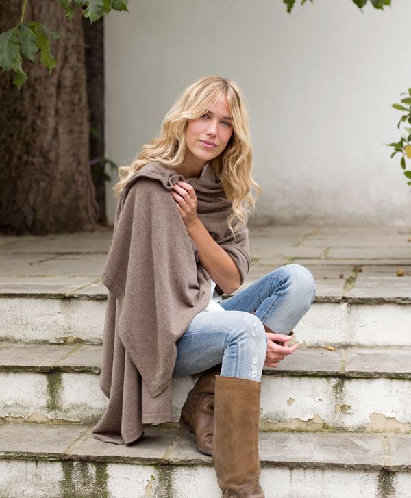 Knitted Cashmere Wrap, faded jeans and suede boots.