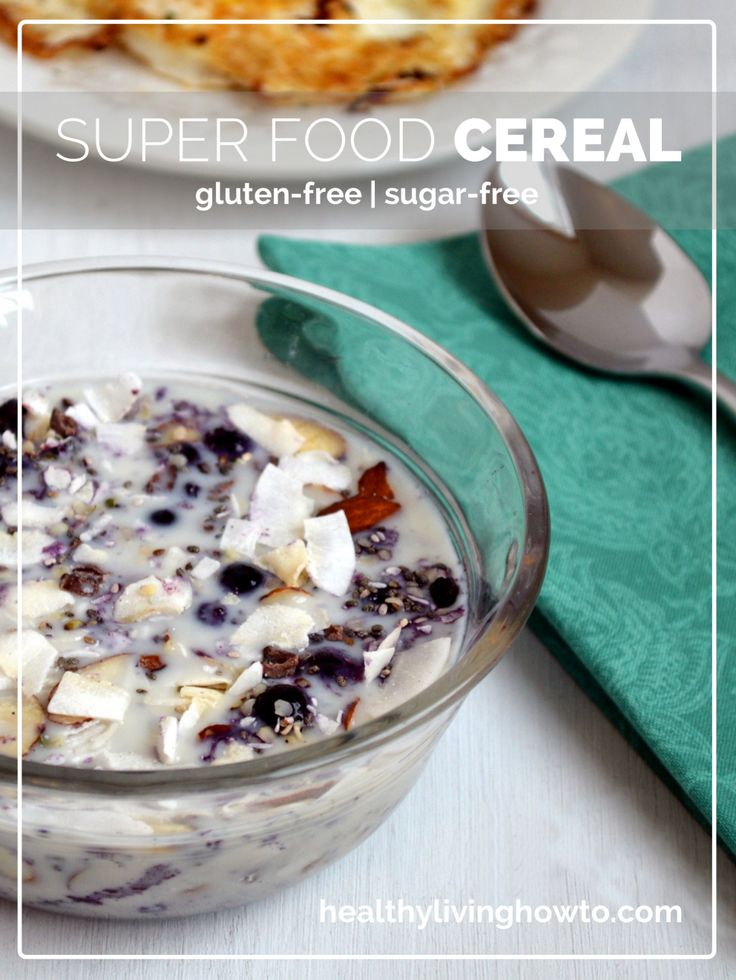 Super Food Cereal - about 2 Tbsp. of everything but the chia seeds, for that use 1 Tbsp. | healthylivinghowto.com