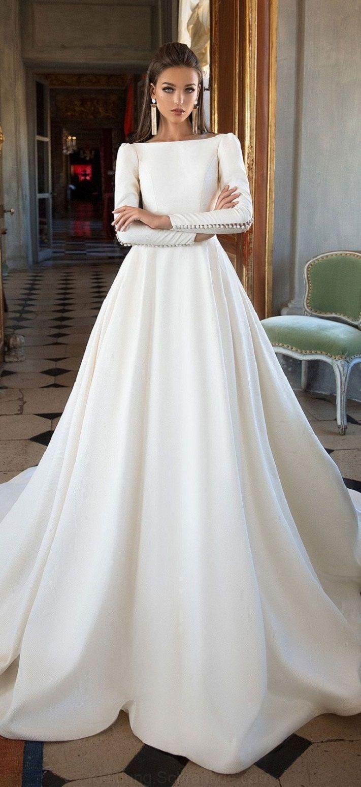 Lange ärmel einfach eine Linie Hochzeits-Kleid : Milla Nova