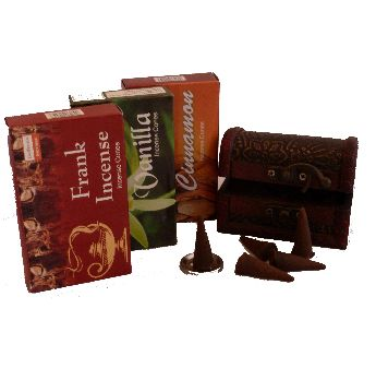 Beautiful rustic incense cone treasure chests.