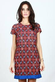 blue brown dart batik dress