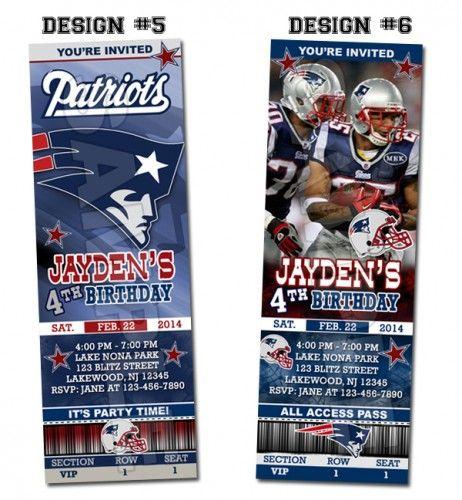 New England Patriots Ticket Birthday party invitations - Printable