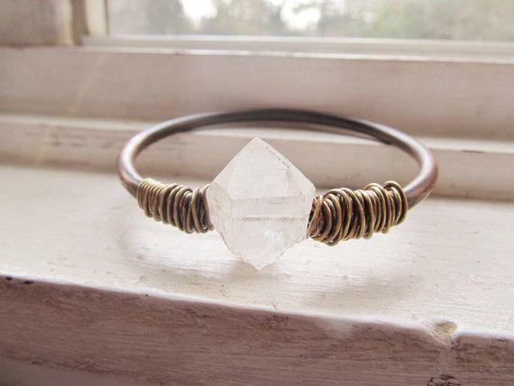 Raw Quartz Bangle Bracelet Wire Wrap Jewelry Crystal Bracelet DanielleRoseBean Copper Bangle Bracelet on Etsy