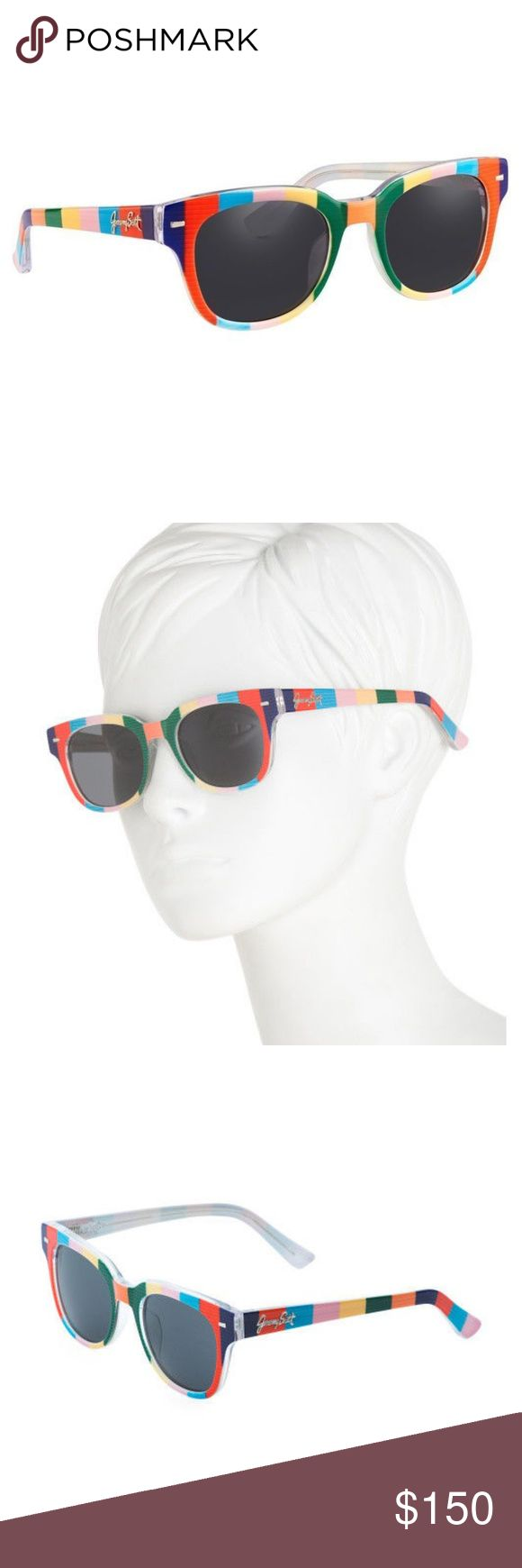 Jeremy Scott Striped Sunglasses New & Case Jeremy Scott Linda Farrow Striped Multi Color Novelty Sunglasses NEW & Case  Never taken out of packaging!  -Includes hard case, cleaning cloth, certificate card -Square, classic shape -Studded edges  Frame: acetate material  Lenses: grey toned, category 3 filter protection Jeremy Scott Accessories Sunglasses