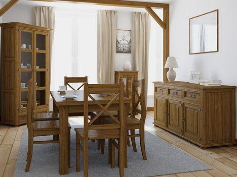 Rustikální nábytek z borovice s mořením a voskovaným povrchem. Komoda stojí od 8600 Kč, velká vitrína je za 9998 Kč, židle stojí 1399 Kč kus, stůl je za 5375 Kč; Nábytek Mirek