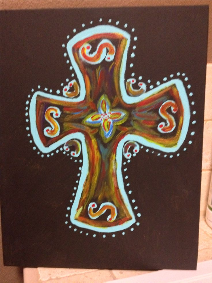 Cross painted on canvas
