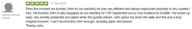 Thank you so much to Debbie & Tony for this wonderful testimonial for playing the Bagpipes at their recent Wedding at Court Colman Manor. :-)  #SouthWales #Weddingmusic #Bagpipes #Bridgend