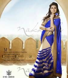 Buy Royal Blue - Beige embroidered georgette saree with blouse half-saree online