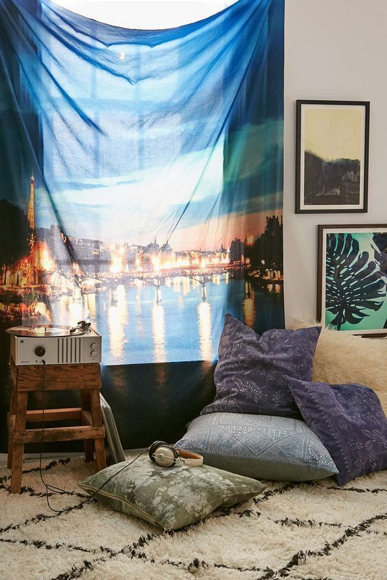"""NEW URBAN OUTFITTERS DENY CHELSEA VICTORIA PARIS I LOVE YOU TAPESTRY 60"""" X 80"""" #DENY"""